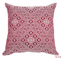 Moroccan Cushion Pillow Handmade Square Burgundy Authentic Fez Embroidered Brocade 55 cm x 55 cm